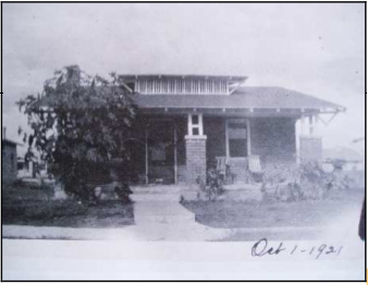 Bungalow style house built in 1919 at 939 N. Ninth Avenue in what was formerly the Court Street Cemetery. Photo from 1921.